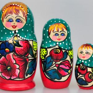 Matriochka Olga 3 pièces 10,5 cm vert/rouge (XO21)