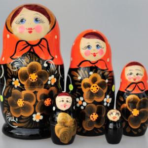 Matriochka au foulard Valentina 5 pièces 10-11 cm orange (XO21)