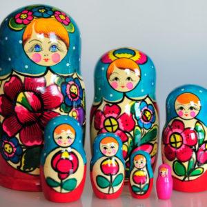 Matrioshka Traditionnelle 7 pièces 19,5 cm BLEU/ROUGE (I3MA701)