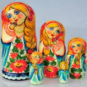 Matriochka Vassilissa la belle, 5 pièces, 17 cm (CJ2-03)