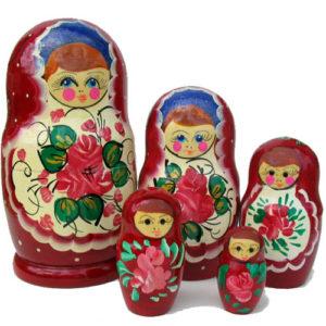 mn39 – Matriochka à fleurs – 5 pièces 18cm