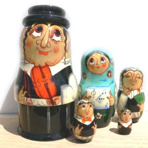 Mj1 – Matriochka juive 'Un Violon sur le toit' – 5 pièces 17 cm