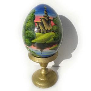 Oeuf en bois peint 'Eglise russe' 8 cm (FD-OE303)