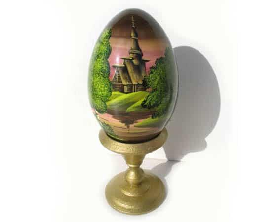 Oeuf en bois peint 'Eglise russe' 8 cm (FC-OE304)
