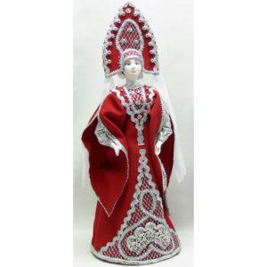Poupée tissus et porcelaine, costume traditionnel russe (033)