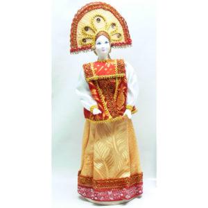 Poupée tissus et porcelaine, costume traditionnel russe (041)