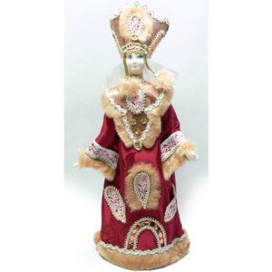 Poupée tissus et porcelaine, costume traditionnel russe (042)