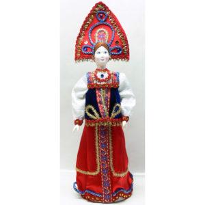 Poupée tissus et porcelaine, costume traditionnel russe (050)