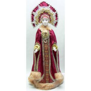 Poupée tissus et porcelaine, costume traditionnel russe (052)