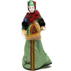 Poupée tissus et porcelaine, costume traditionnel russe (152)