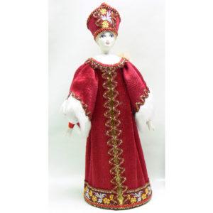 Poupée tissus et porcelaine, costume traditionnel russe (156)