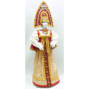 Poupée tissus et porcelaine, costume traditionnel russe (159)