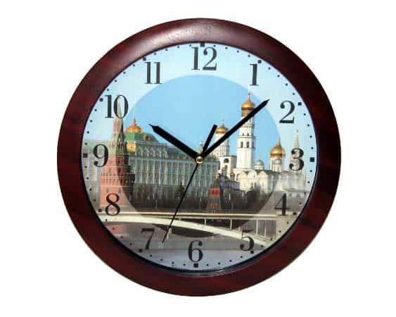Pendule russe décorative 'MOSCOU' avec cadre en bois