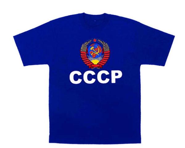 TS11L – T-shirt bleu 'CCCP' URSS Taille L