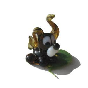 Vr11 – Figurine russe en verre soufflé, le chien noir