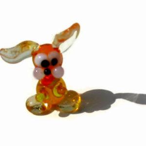 Vr20 – Figurine russe en verre soufflé, le Lapin orange