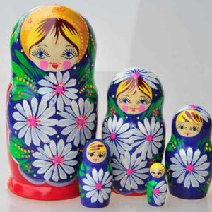 Matriochka Traditionnelle 5 pièces BLEU ROUGE 12cm (XI4-03)
