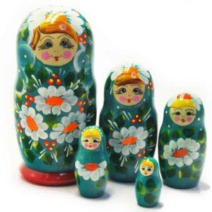 Matriochka fleurs bleues 5p. (ZNMT00501)