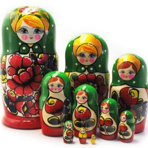 Matriochka traditionnelle russe verte 10 pièces (ZNMT0101)