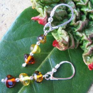 amb043 – Boucles d'oreilles ambre 'Cyrillique russe'