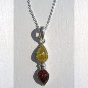 amp051 – Pendentif ambre jaune/orange 'Russe' + chaîne offerte