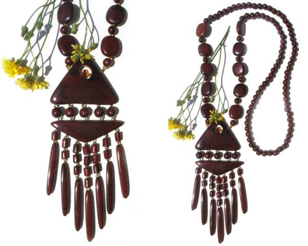 Collier en bois + pierre d'ambre 'amulette' – Oural (AA4-bcba25)