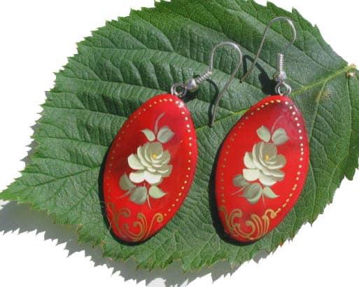 Boucles d'oreilles russes en bois (Z15bcl110)