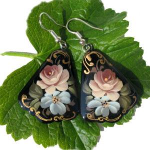 Boucles d'oreilles russes en bois (Z15bcl26)