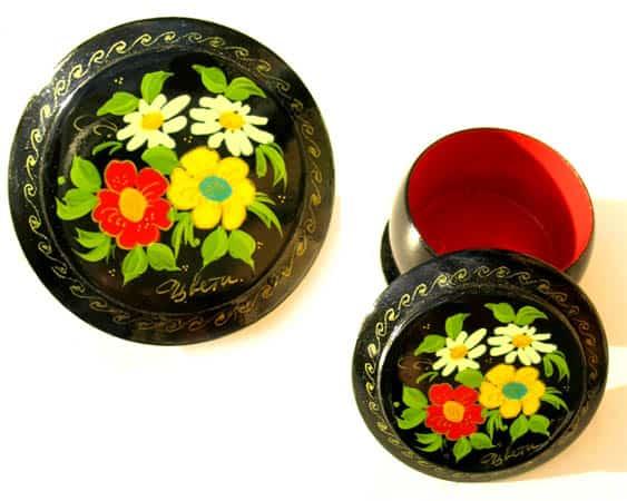 Boîte laquée russe (ronde) à Bijoux Fedoskino (AA7-blr1)