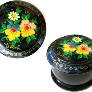 Boîte laquée russe (ronde) à Bijoux Fedoskino (AA7-blr10)