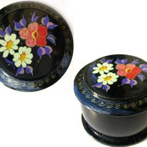 Boîte laquée russe (ronde) à Bijoux Fedoskino (AA7-blr11)