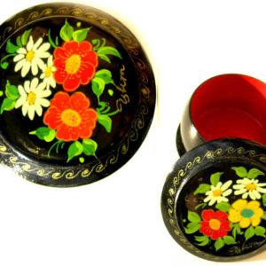 Boîte laquée russe (ronde) à Bijoux Fedoskino (AA7-blr5)