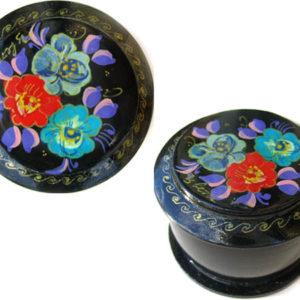 Boîte laquée russe (ronde) à Bijoux Fedoskino (AA7-blr9)