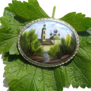 Finift05 – Broche Finift russe – miniature peinte sur email