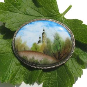 Finift06 – Broche Finift russe – miniature peinte sur email