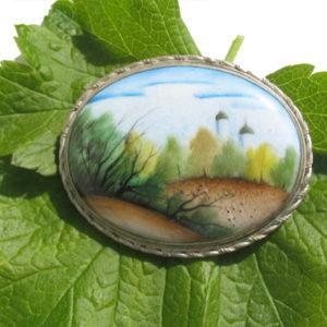 Finift07 – Broche Finift russe – miniature peinte sur email