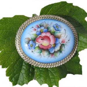 Finift09 – Broche Finift russe – miniature peinte sur email