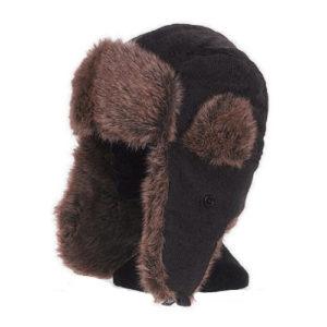 Chapka en velours, coton, imitation fourrure MARRON (A0-chap)
