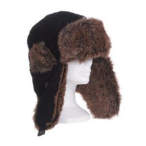 Chapka en velours, coton, imitation fourrure NOIR (A0-chap)