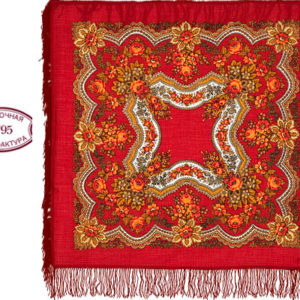 cht1146_5 – Châle traditionnel russe – 90×90 rouge