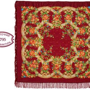 cht31200_4 – Châle traditionnel russe – 146×146 rouge foncé