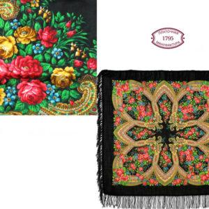 cht1685_18 – Châle traditionnel russe – 90×90 noir