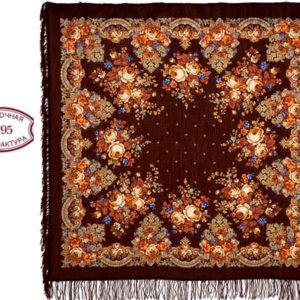 cht21219_17 – Châle traditionnel russe – 125×125 marron