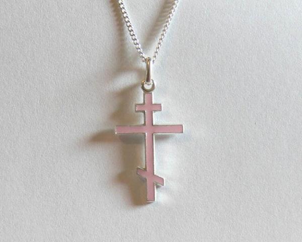 Croix orthodoxe en ARGENT avec chaîne – Rose tendre