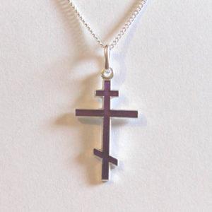 Croix orthodoxe en ARGENT avec chaîne – Violet