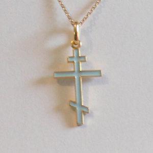 Croix orthodoxe PLAQUEE OR avec chaîne – Bleu pastel