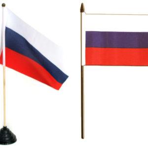 Drapeau / Pavillon de la Russie – 22,5 x 15 cm (de table) H=37cm