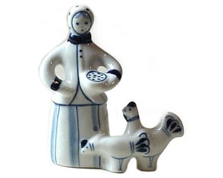 gzh1050 – Porcelaine de Gzhel (Made in URSS) 'Au poulailler'