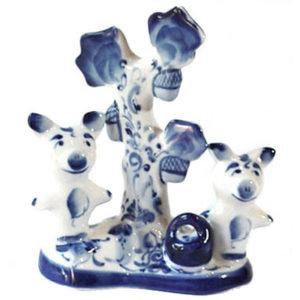 gzh1102 – Porcelaine de Gzhel (Ghzel) – Cochons