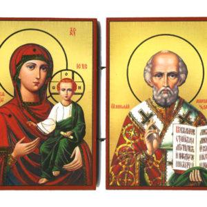 Smolenskaïa et Saint Nicolas – Panneau Icône Diptyque en bois